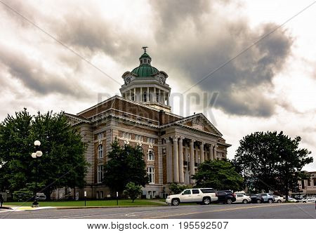 Pulaski Tennessee USA - June 23 2017: The Giles County courthouse built in 1909 in historic Pulaski Tennessee.
