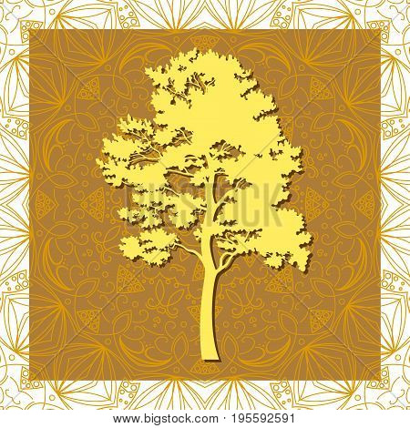 Pine Tree Silhouette on Abstract Brown Background, Element for Seamless Tile Pattern. Vector