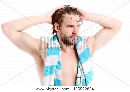 Guy With Striped Blue Towel And Big Muscles On White