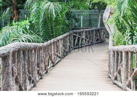 background of wooden bridge walkway in the zoo