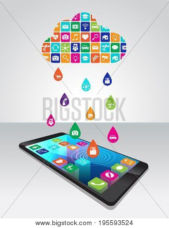 Rain from mobile apps: the application downloaded and installed to smartphone from the cloud, vector illustration is ordered by layers