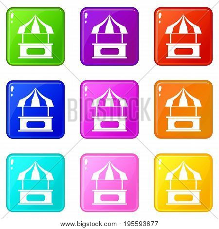 Store kiosk with striped awning icons of 9 color set isolated vector illustration