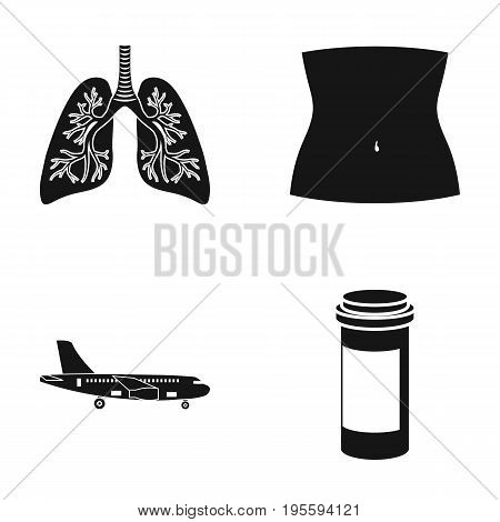 Human lungs, body part and other  icon in black style. airplane, medicine container icons in set collection.
