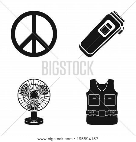 Sign of Freedom, a hair clipper and other  icon in black style. a fan, body armor icons in set collection.