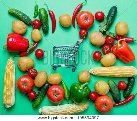 Tomatoes And Potatoes With Shopping Cart
