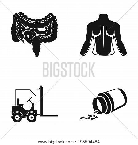 Internal organs, human back and other  icon in black style. loader, medicine icons in set collection.