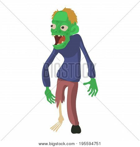 Zombie without a leg icon. Cartoon illustration of zombie vector icon for web