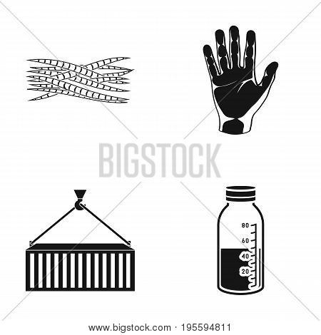 Muscle fiber, wrist and other  icon in black style.container, solution in a bottle icons in set collection.