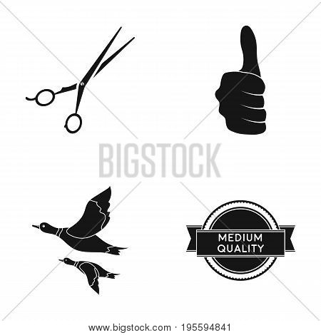 Scissors, thumb up and other  icon in black style. ducks, average quality icons in set collection.