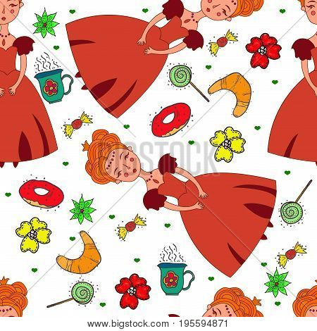 Seamless raster pattern with sweets and princess in red ball dress. Children party time