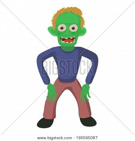 Standing zombie icon. Cartoon illustration of zombie vector icon for web