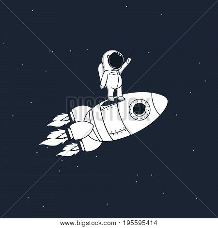 Sweet astronaut stays on rocket and flying through space .Childish vector illustration
