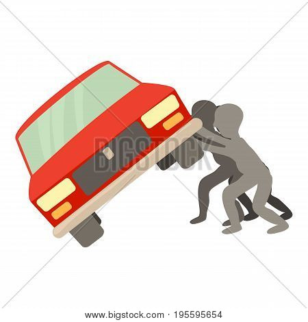 People overturned car icon. Cartoon illustration of people overturned vector icon for web