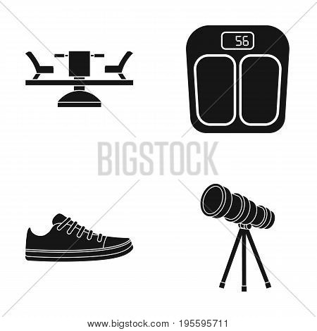 Carousel, scales and other  icon in black style. sneakers, telescope icons in set collection.