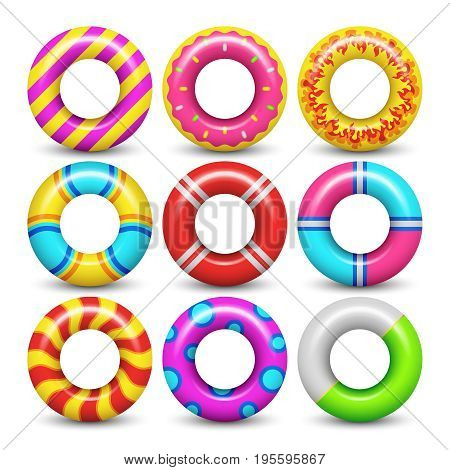 Rubber swimming ring isolated vector set. Rubber ring for swimming sea illustration