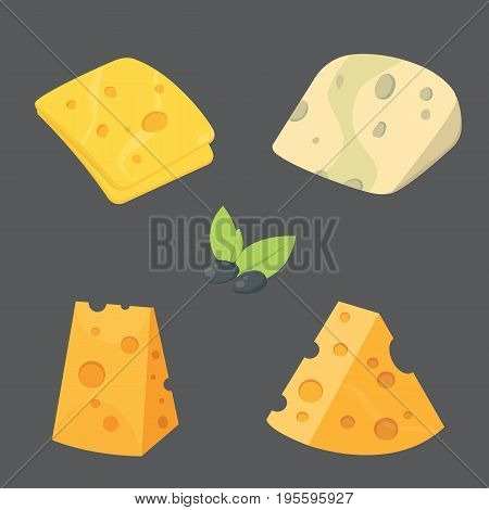 Cheese types . cartoon style vector illustration icons