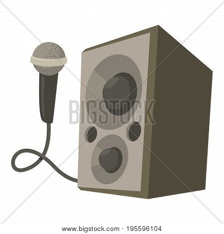Microphone with speakers icon. Cartoon illustration of microphone with speakers vector icon for web