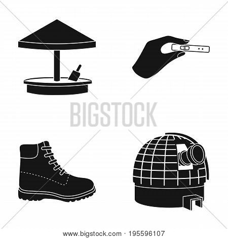 Sandbox, pregnancy test and other  icon in black style. boot, observatory icons in set collection.
