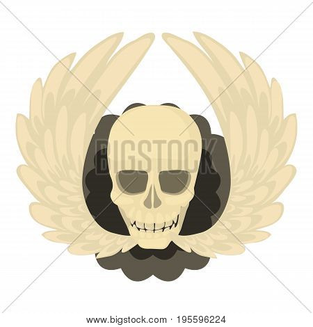 Skull with wings icon. Cartoon illustration of skull with wings vector icon for web