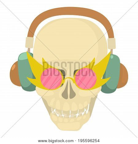 Skull with headphones icon. Cartoon illustration of skull with headphones vector icon for web