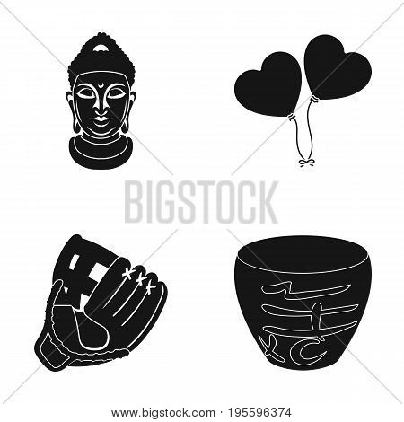 The head of the goddess, balloons and other  icon in black style. a baseball glove, a glass of juice icons in set collection.