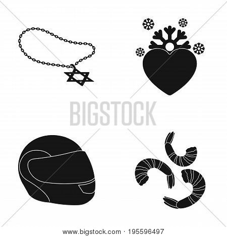 Medallion, Cold heart and other  icon in black style. helmet, shrimp icons in set collection.