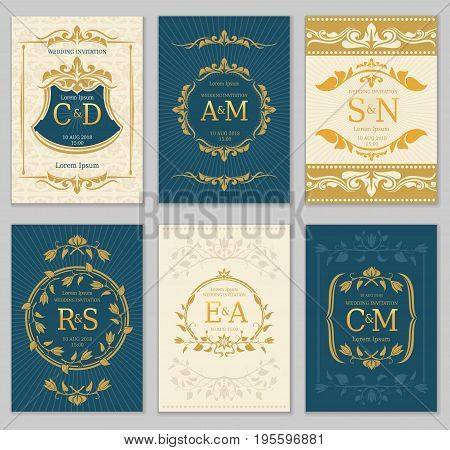 Luxury vintage wedding invitation vector cards with logo monograms and ornate frame. Classic monogram luxury label on invitation poster illustration