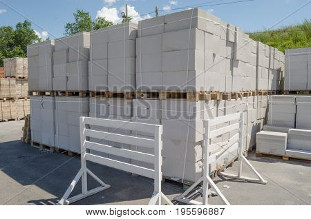 Sale of concrete Blocks building materials on wooden pallets