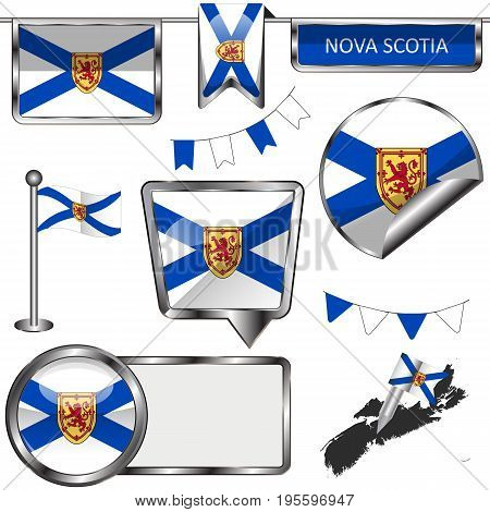 Glossy Icons With Flag Of Province Nova Scotia