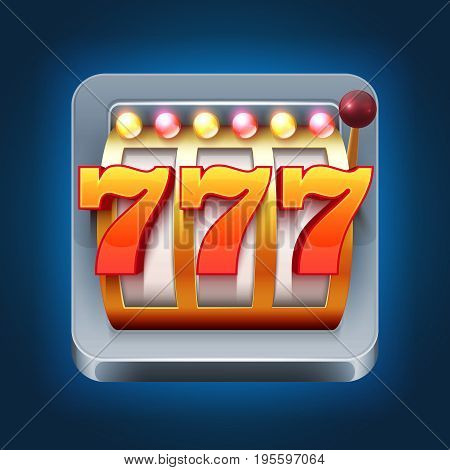 Casino vector smartphone game icon with 777 win slot machine. Gambling game slot machine for web casino illustration