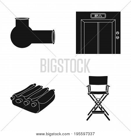 Tube, door to elevator and other  icon in black style. meat on ribs, chair icons in set collection.