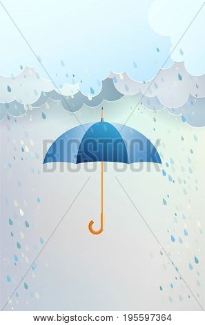 Blue opened umbrella and clouds with rain - copy space for your text. Vector illustration.