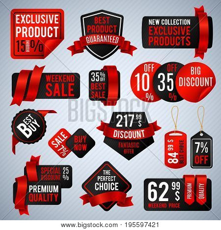Price tags, special business offer labels and discount presentation banners vector set. Sell and buy promotion sticker label illustration