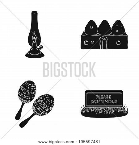 Lamp, construction and other  icon in black style. Maracas, please do not walk icons in set collection.