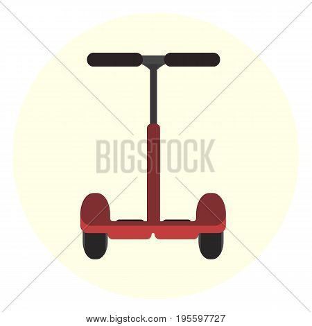 Flat red vector electric scooter icon. Modern alternative youth city transport. Ecological fashion teenager transport isolated symbol