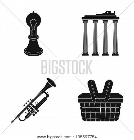 Incandescent lamp, columns and other  icon in black style.pipe, basket icons in set collection.