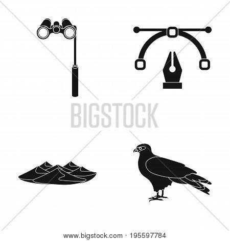 lorgnette, the placard feather and other  icon in black style. mountains, Eagle icons in set collection.