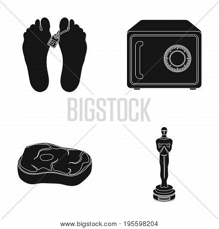 Corpse, safe and other  icon in black style. meat steak, figurine icons in set collection.