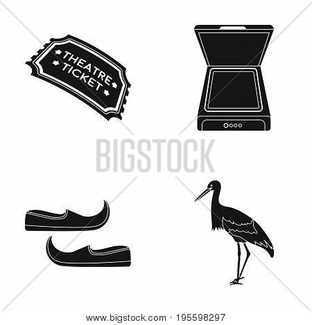 Ticket to the theater, scanner and other  icon in black style. shoes, crane icons in set collection.