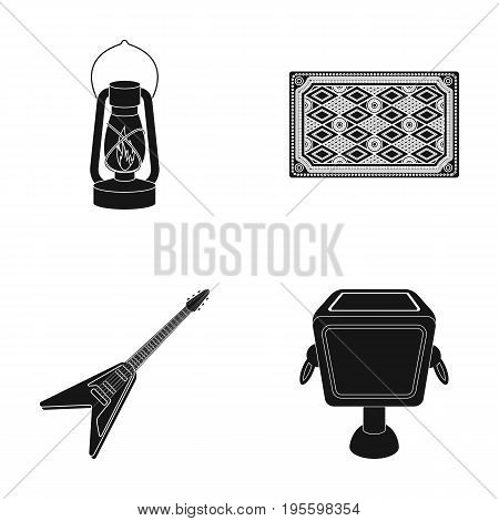 Lamp, carpet and other  icon in black style.electric guitar, garbage can icons in set collection.