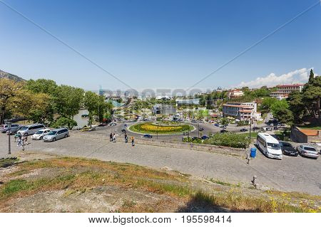 TBILISI GEORGIA - May 01 2017. Panorama view on Europe square and park Rike from Metekhi Church of the Dormition of the virgin.