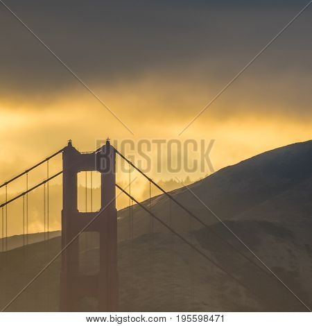Detail Of The Golden Gate Bridge In San Francisco At Sunset