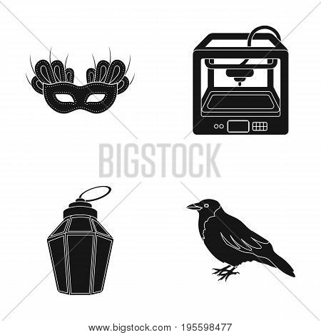 Theatrical mask, 3D printer and other  icon in black style. lantern, crow icons in set collection.