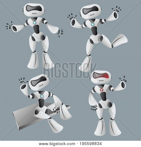 Realistic white robot in different poses. Vector illustration.