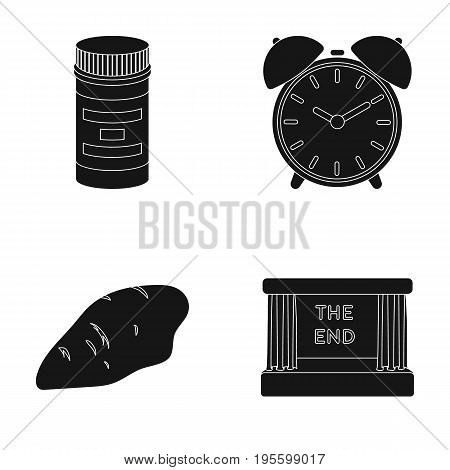Packaging, alarm clock and other  icon in black style.chicken breast, movie screen icons in set collection.