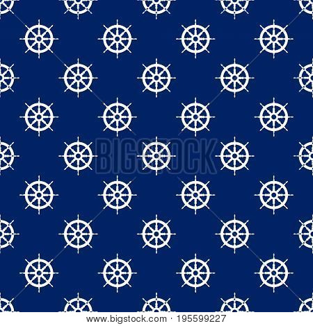 Seamless Travel Pattern with Ships Wheel , Marine Tourism Concept , Vector Illustration