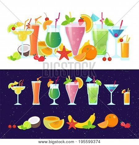 Set of tasty colorful cocktails vector flat design isolated on white background. Summer cocktails and fruits vector banner on dark background