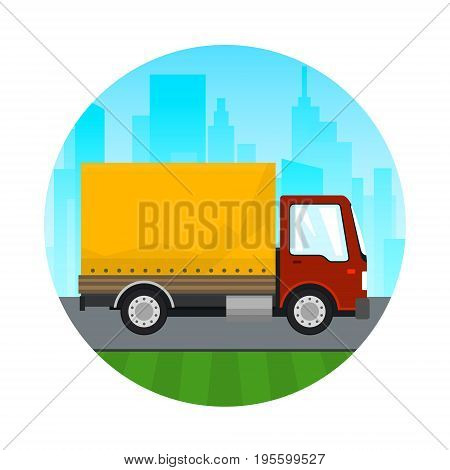 Transportation and Cargo Services, Icon Red Orange Cargo Delivery Truck on the Background of the City, Shipping and Freight of Goods, Vector Illustration