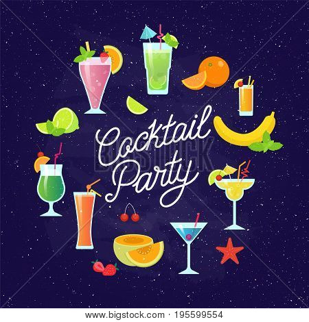 Set of tasty colorful cocktails vector flat design isolated on dark blue background. Summer cocktails and fruits vector banner with lettering. Invitation to the cocktail party