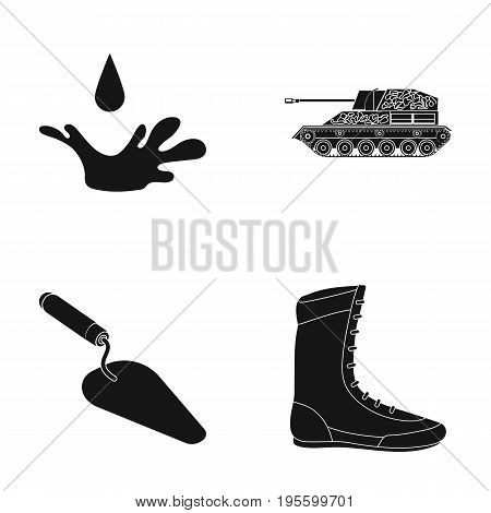 Drop, Tank and other  icon in black style.Trowel, Boxer Sneaker icons in set collection.